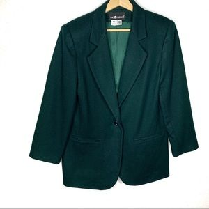 SAG HARBOR Green 100% Pure Wool 1 Button Blazer
